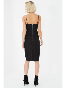 Black Satin Pinstripe Crossover Bralet Bodycon Midi Dress