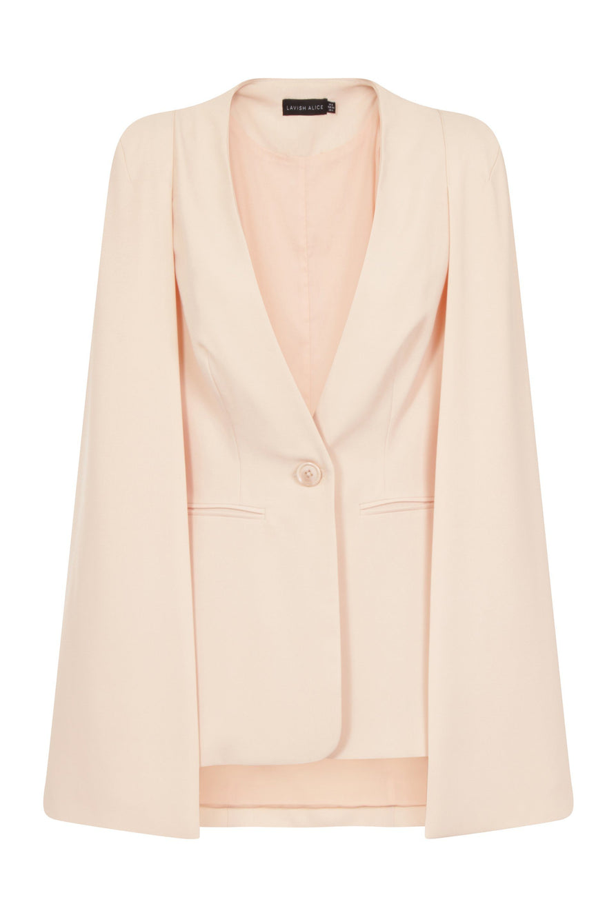 Caped Blazer in Soft Blush