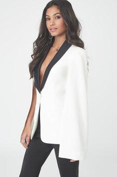 White Cape Blazer with Black Satin Lapel