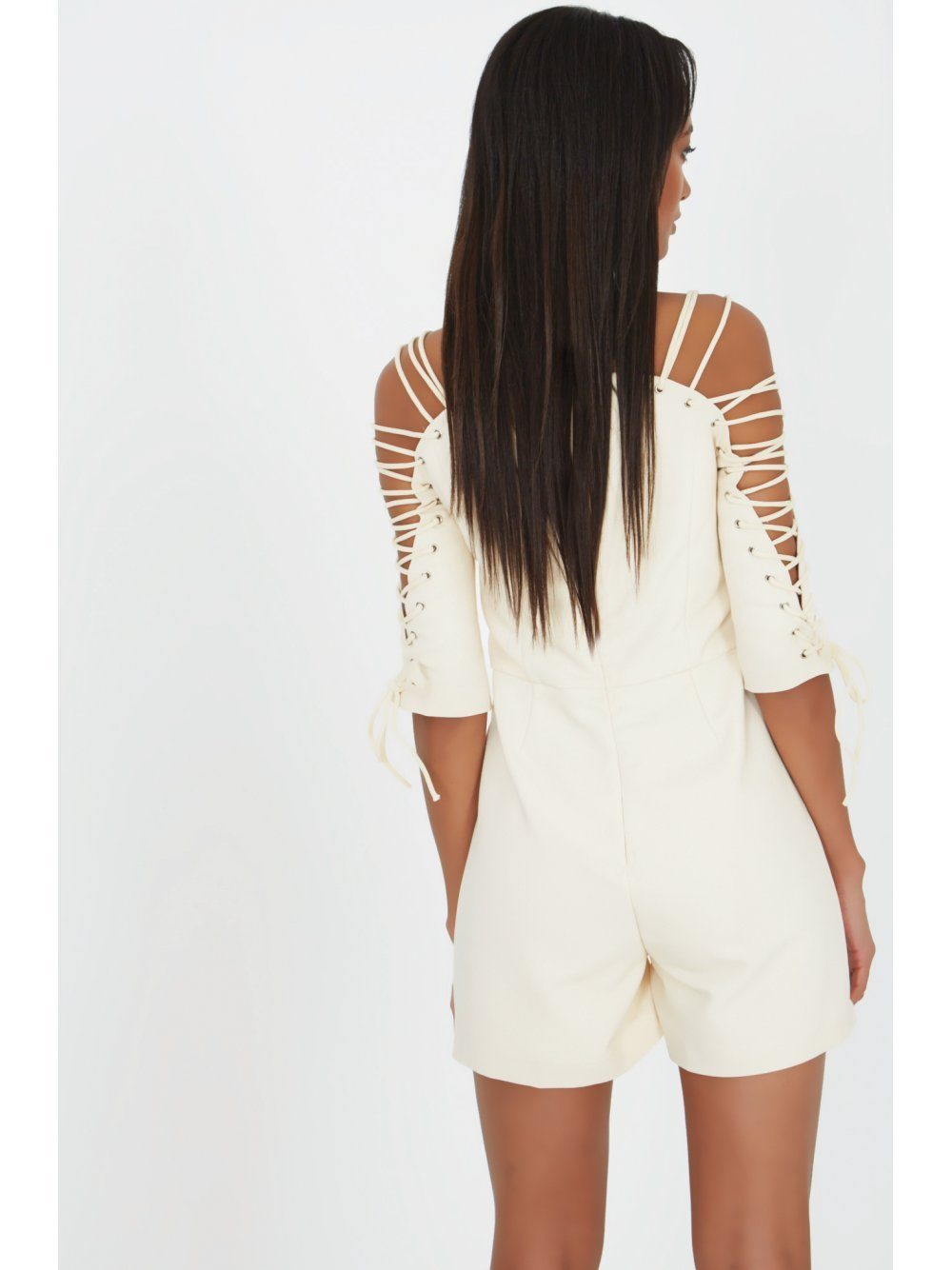 Cream Lace Up Sleeve Structured Playsuit