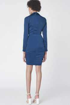 Plunge Front Drawcord Dress in Navy Satin