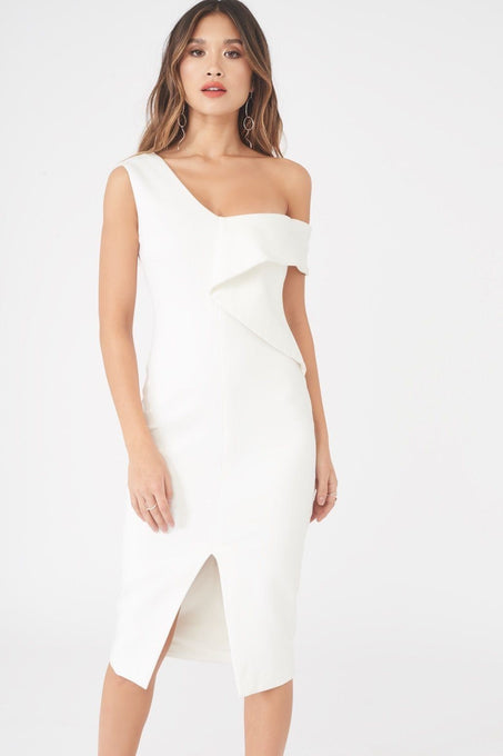 Origami Folded One Shoulder Midi Dress