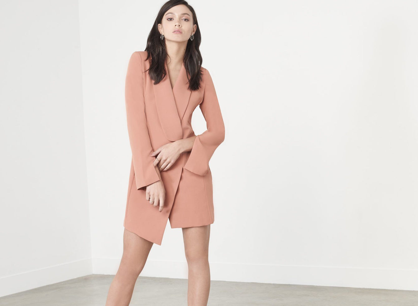 Tan Brown Split Sleeve Tuxedo Mini Dress