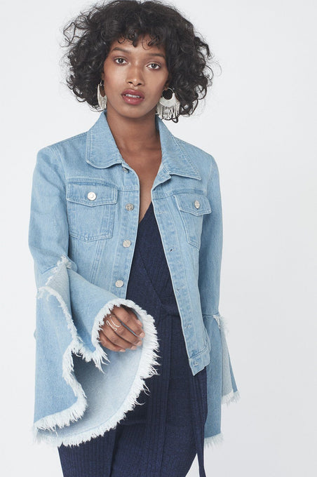 Bell Sleeve Jacket in Light Wash Denim