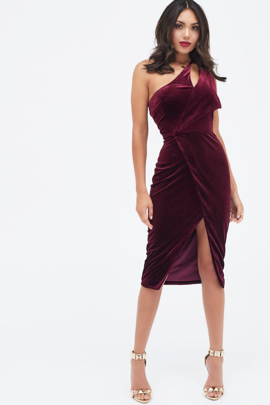 2d45b71bb8f Velvet One Shoulder Cut Out midi Dress – Lavish Alice