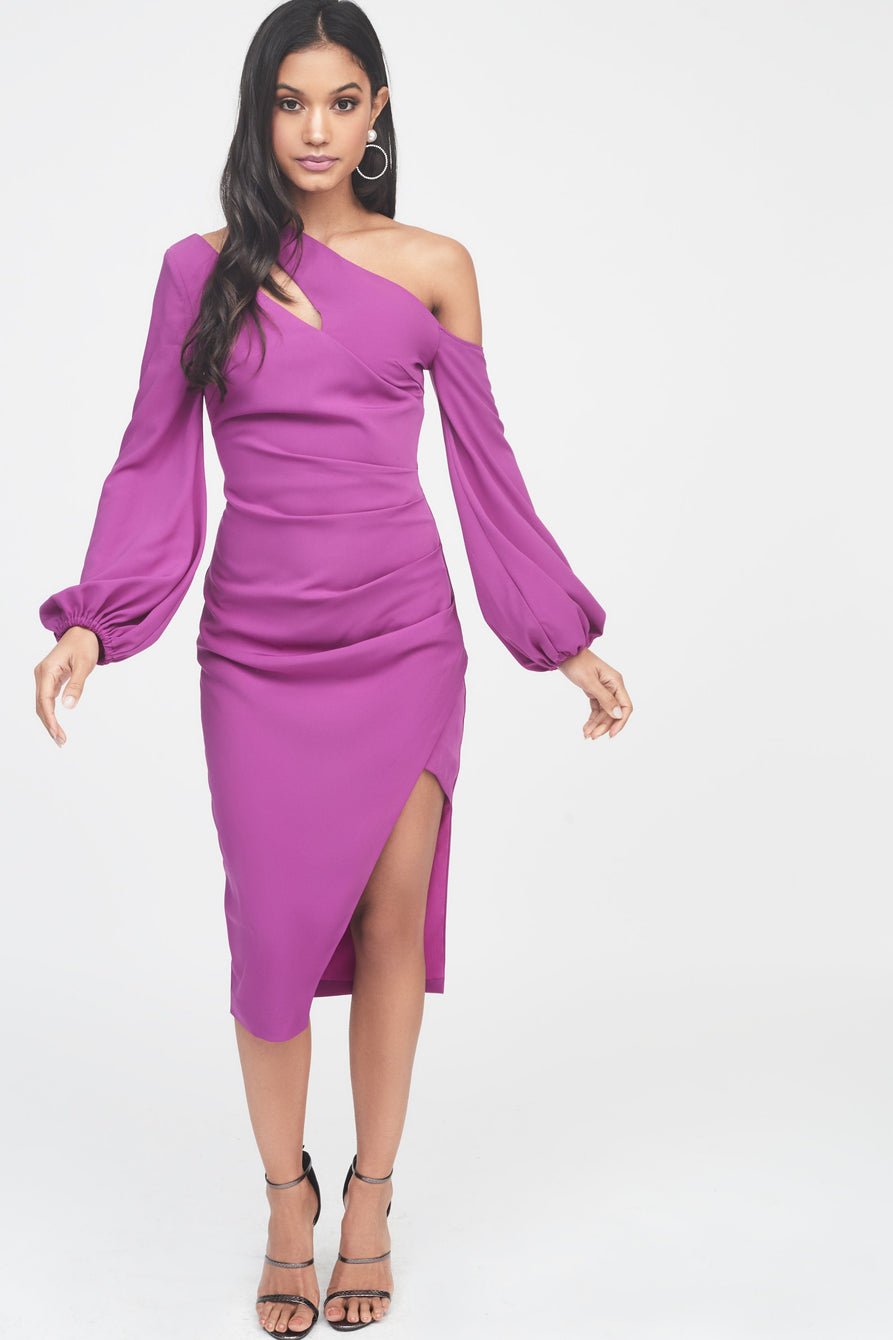 One Shoulder Balloon Sleeve Midi Dress