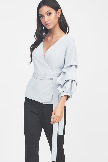 Gathered Sleeve Wrap Shirt