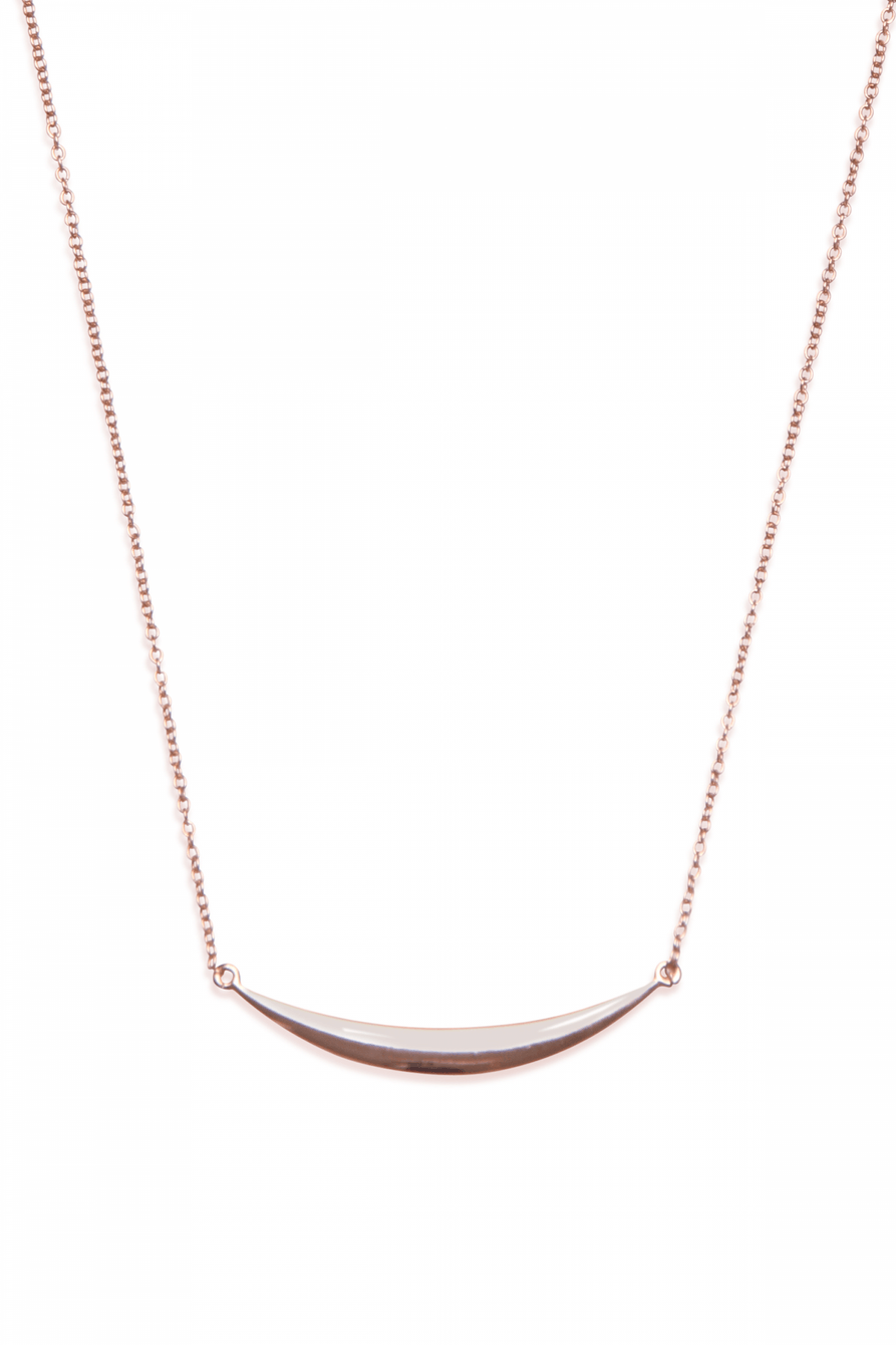 Sterling Silver Rose Gold Plated Crescent Pendant Necklace