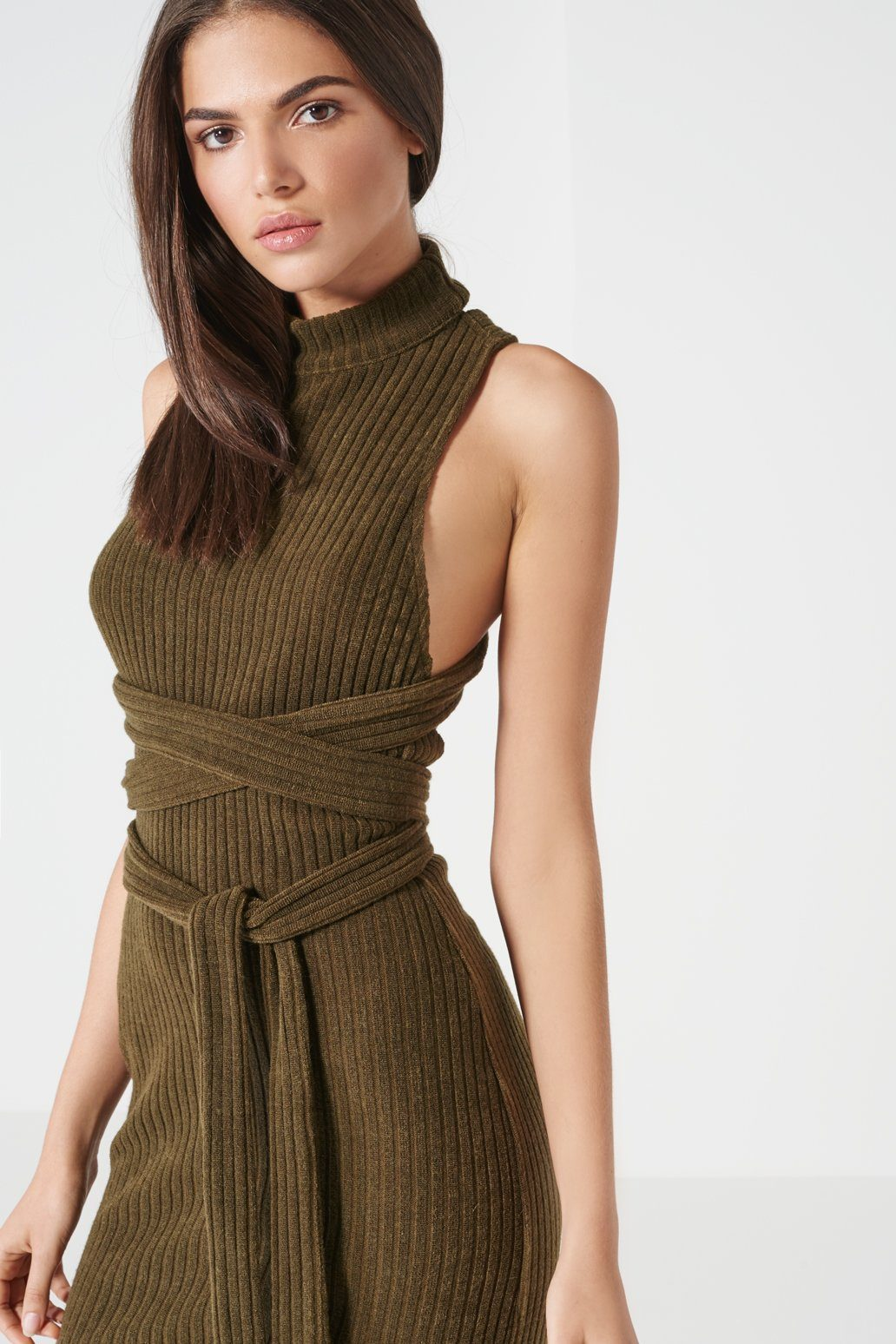 Khaki Rib Knit Open Back Wrap Tie Midi Dress