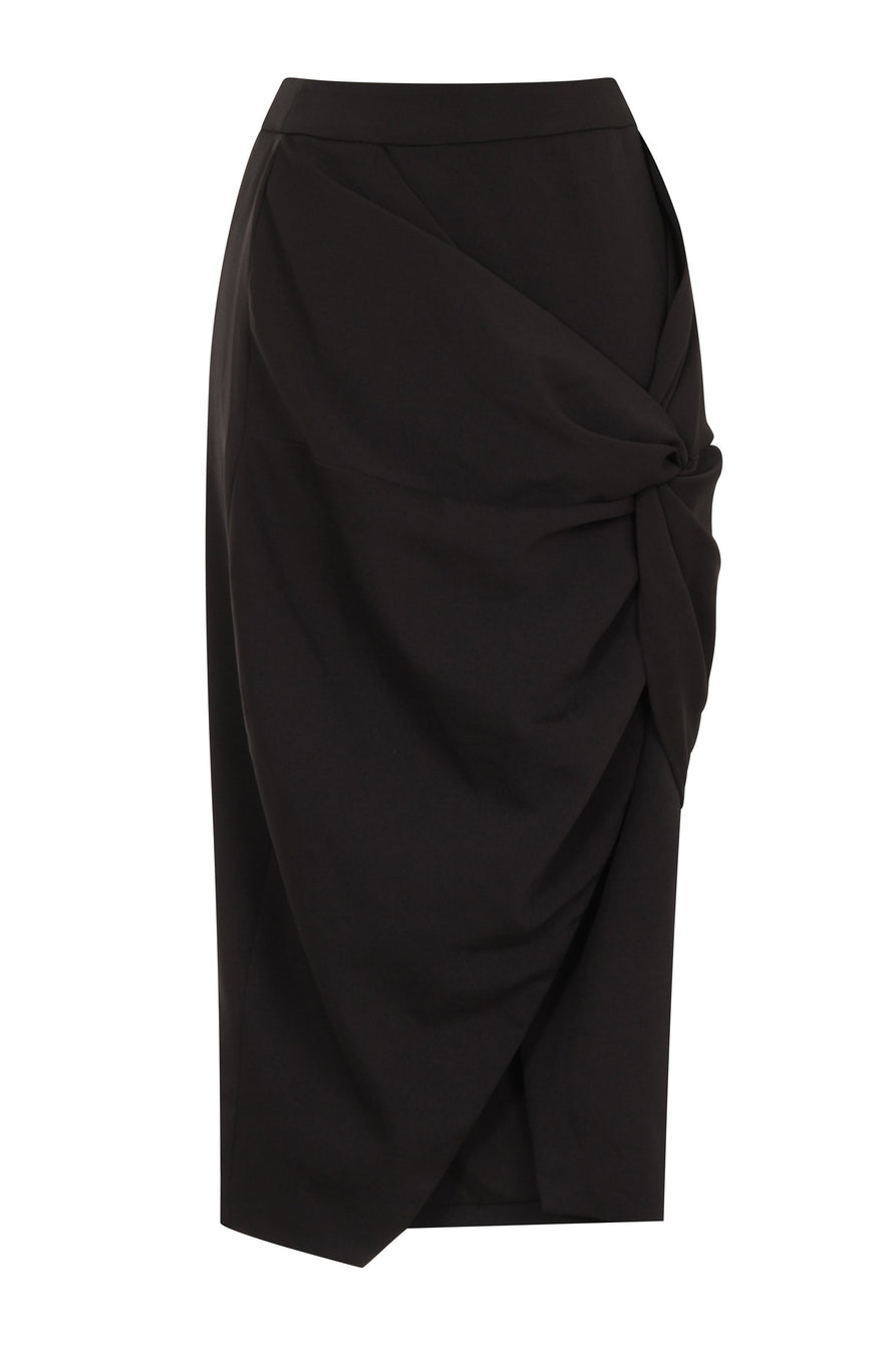 Twist-Front Skirt in Black