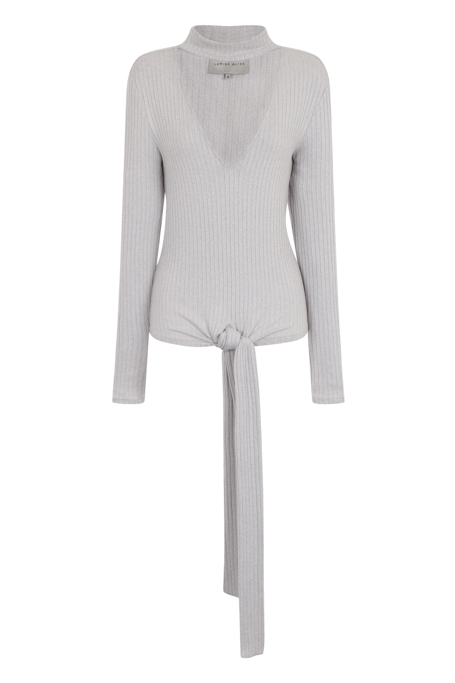 Kendall Jenner Light Grey Rib Keyhole High Neck Tie Detail Top