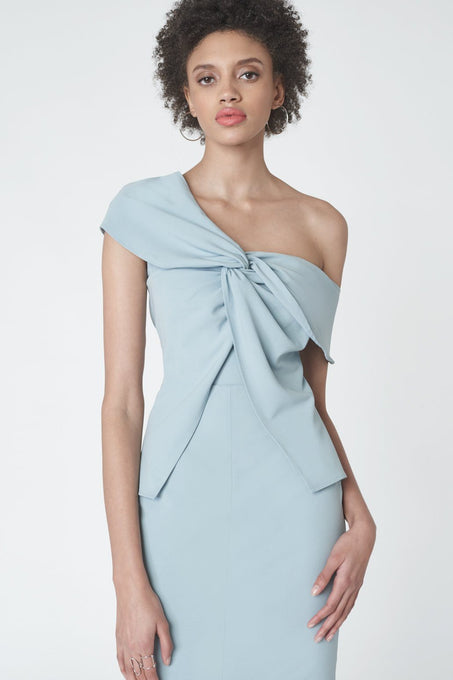 Twisted Asymmetric Dress in Baby Blue