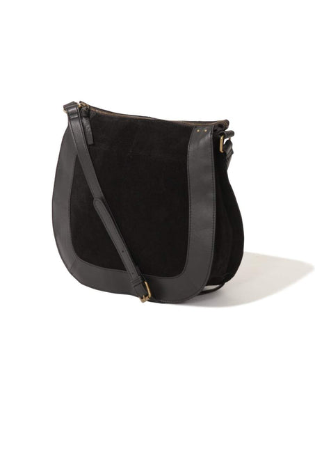 Black Leather & Suede Cross Body Saddle Bag