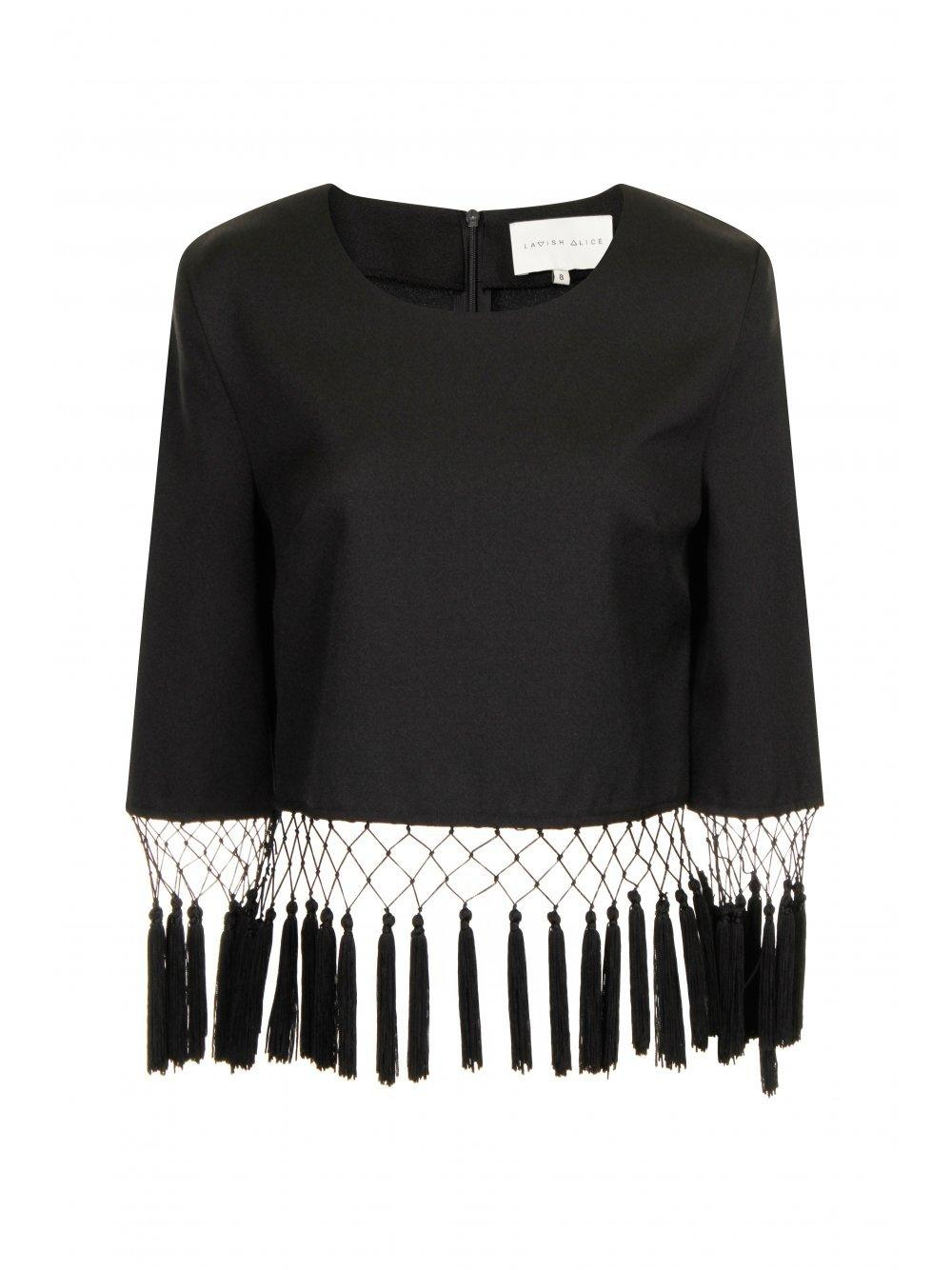Black Tassel Hem Long Sleeve Top
