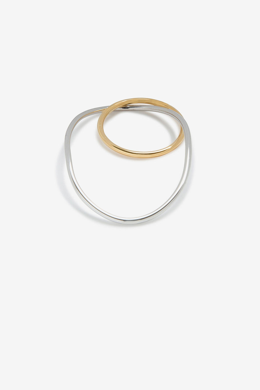 Double Ring in Sterling Silver & Gold-Plated Sterling Silver