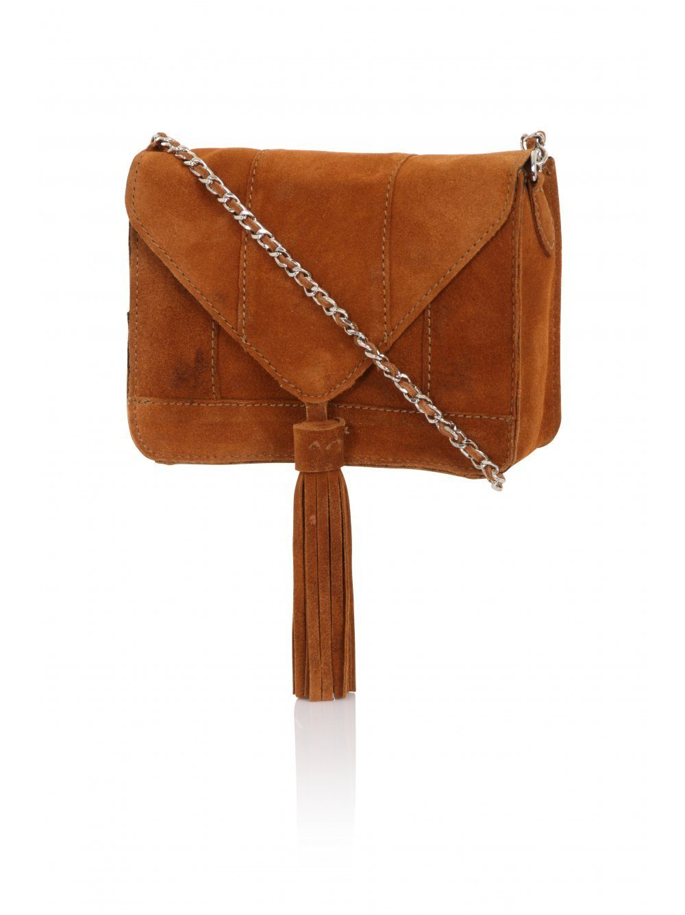 Tan Suede Tassel Detail Silver Chain Cross Body Mini Bag
