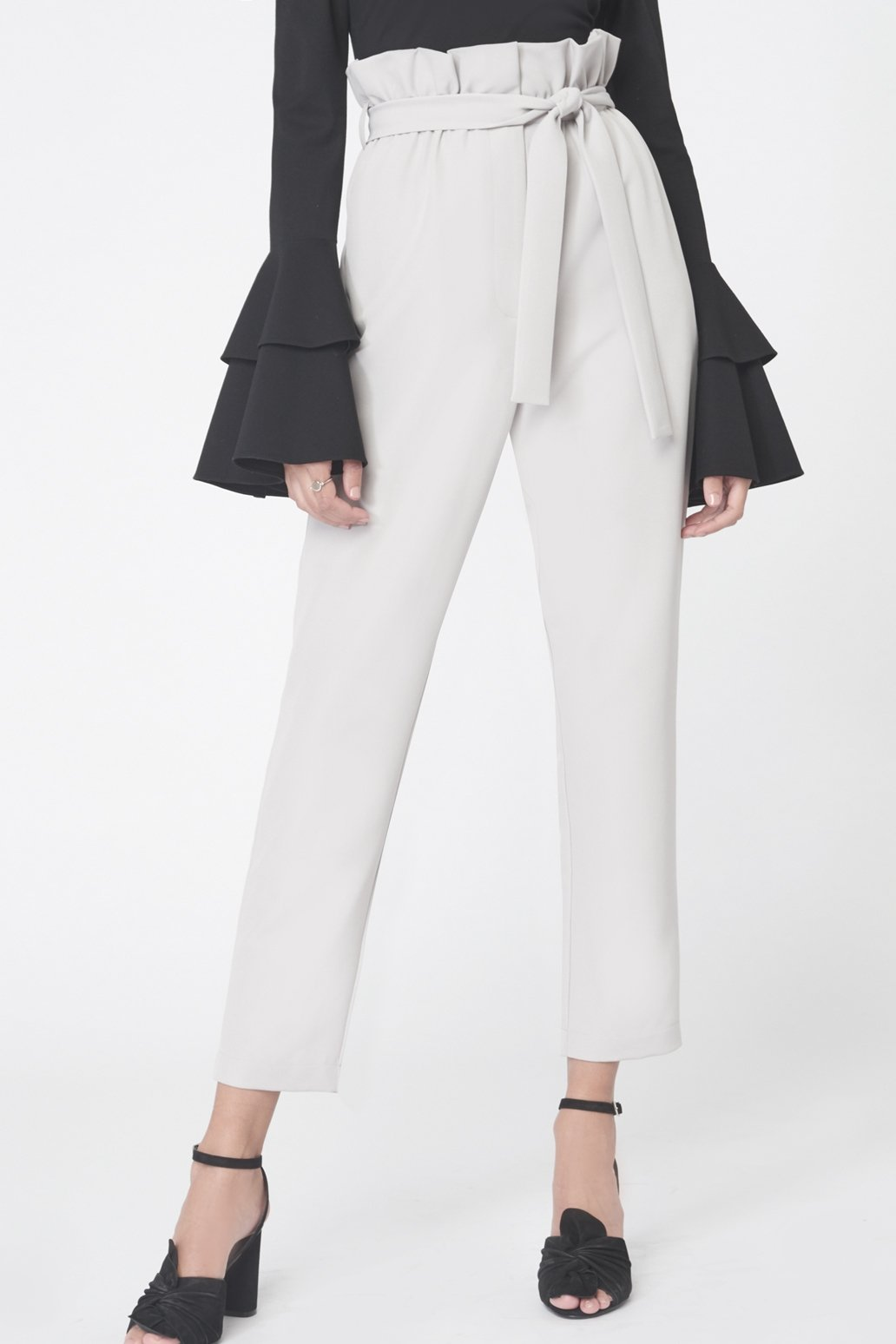 Paperbag Waist Tapered Trousers in Grey