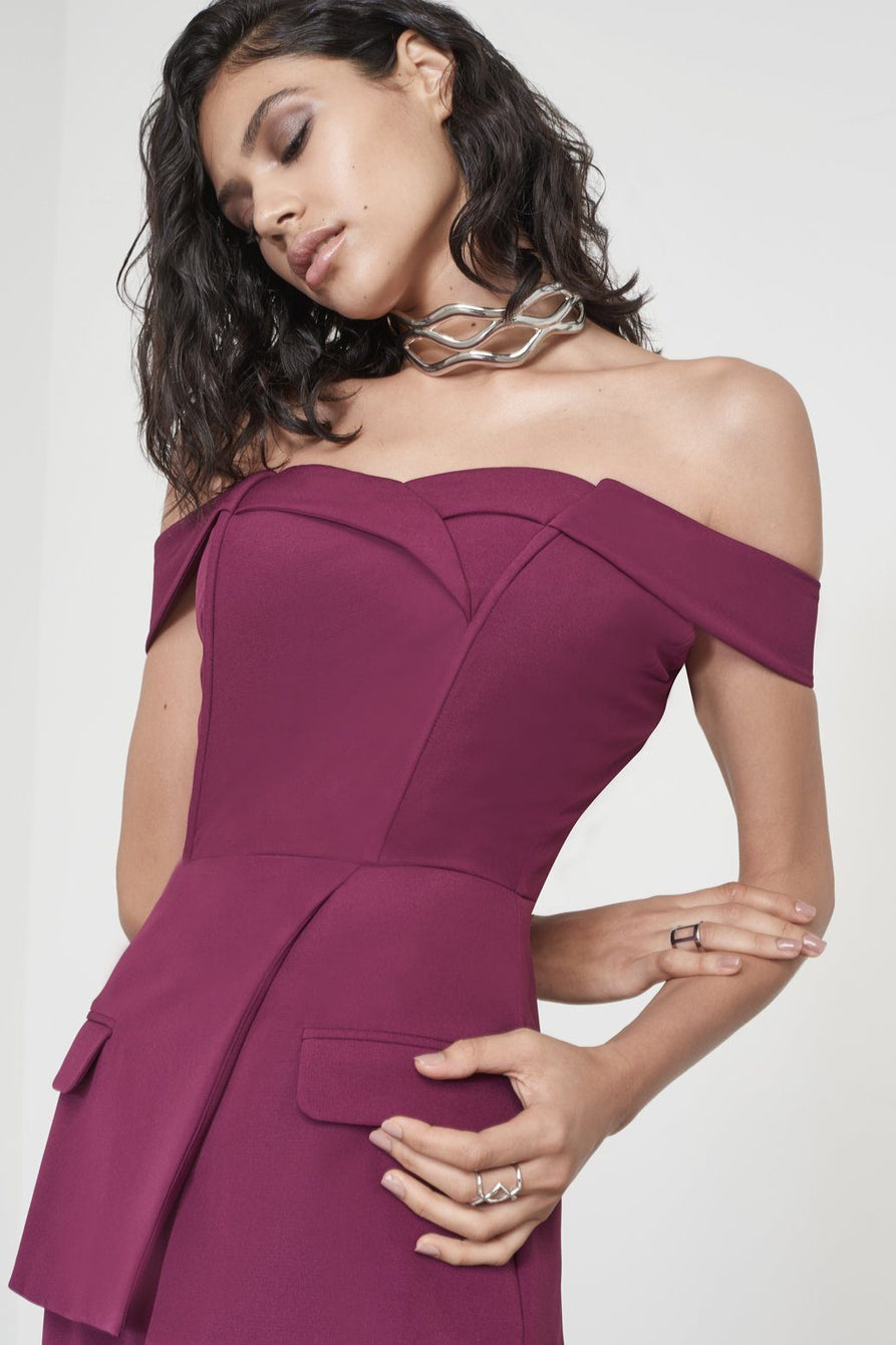 f4c16dfa092b Wine Purple Off The Shoulder Tuxedo Style Jumpsuit – Lavish Alice