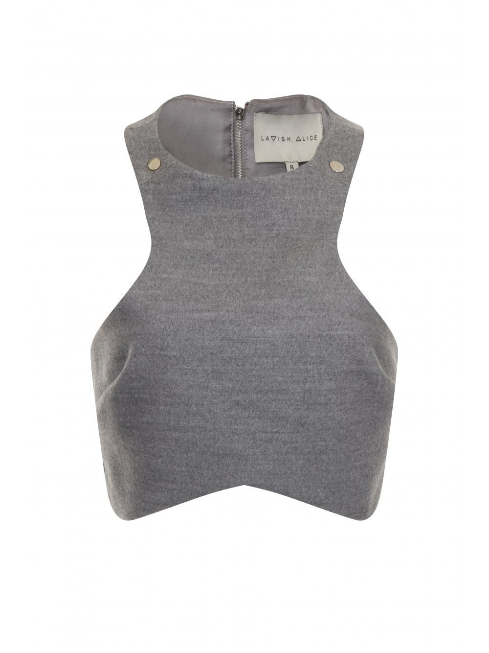 Grey Marl Press Stud Detail Racer Crop Top (Gigi Hadid)