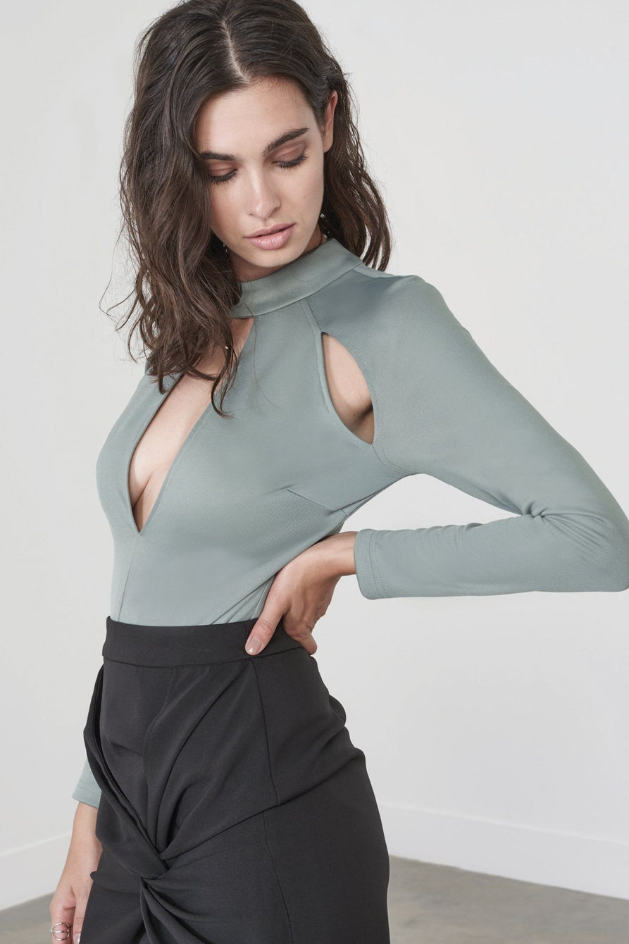 Cutout Raglan Sleeve Bodysuit in Sage