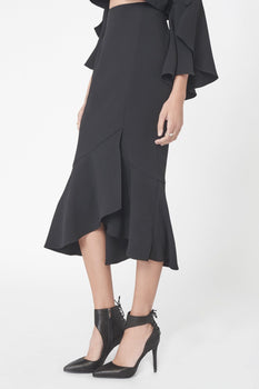 Frill Wrap Midi Skirt in Black