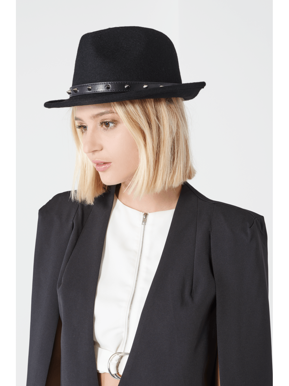Black Wool Silver Stud Detail Fedora Hat