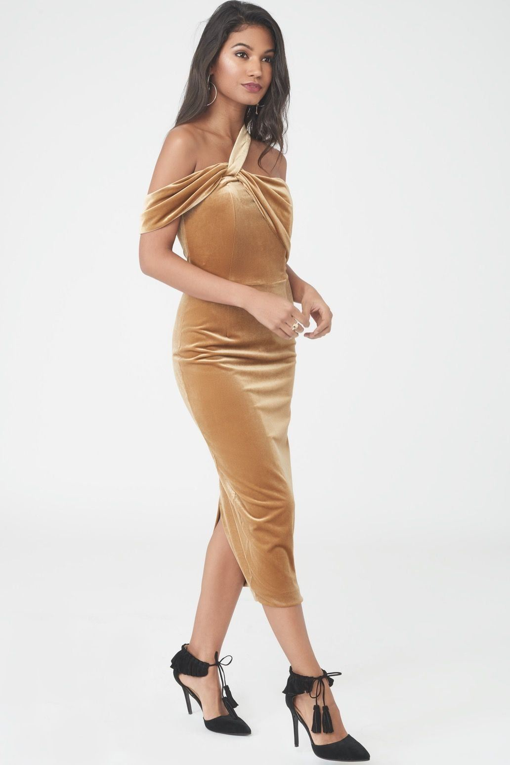 Velvet Asymmetric Midi Dress in Gold