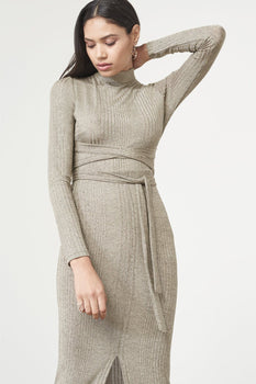 Gold Metallic Rib Knit Open Back Wrap Tie Midi Dress
