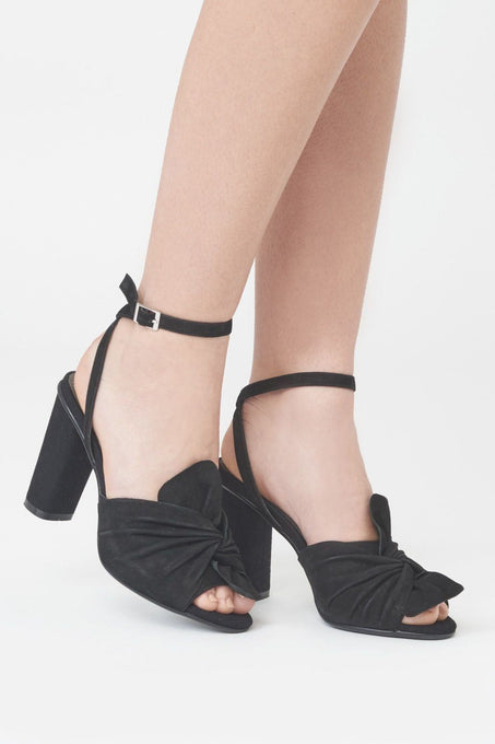 Twist Front Block Heels in Black Suede