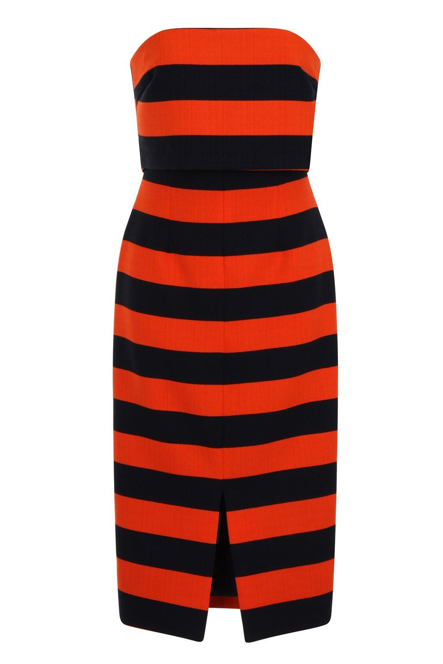 Orange & Navy Stripe Print Bandeau Cropped Midi Dress