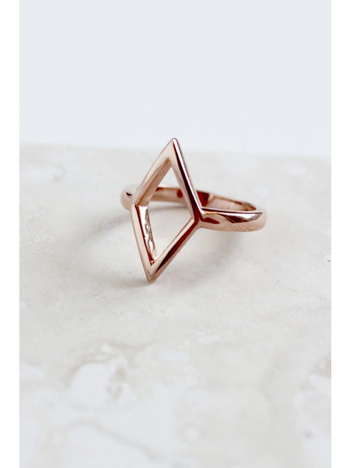 Sterling Silver Rose Gold Plated Open Diamond Shape Ring