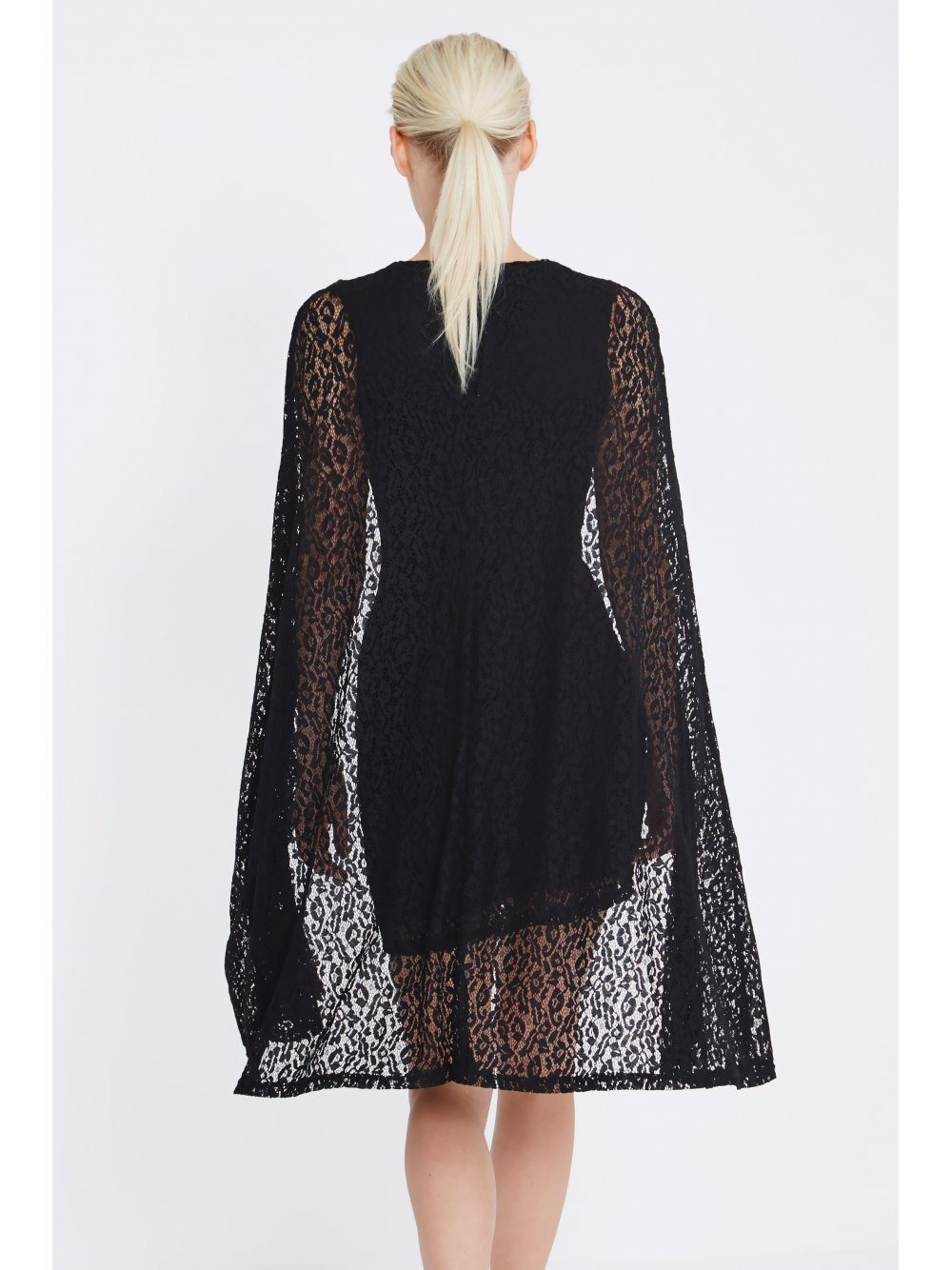 Black Lace Cape Mini Dress