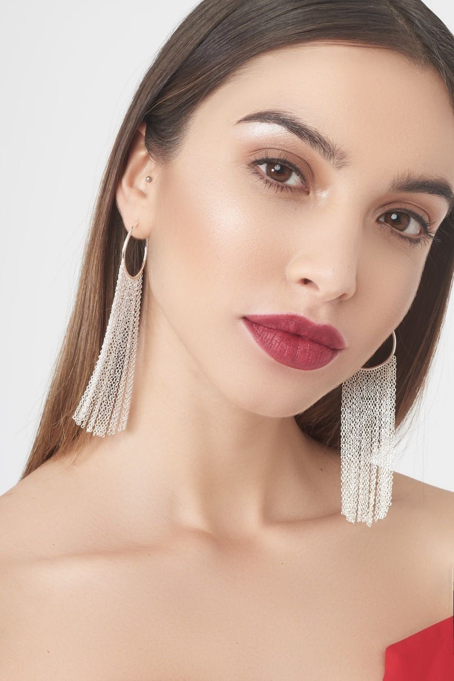 Sterling Silver Drop Tassel Earrings