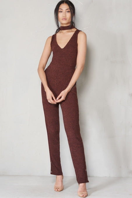 Brown Rib Knit Open Keyhole Neck Popper Split Leg Jumpsuit