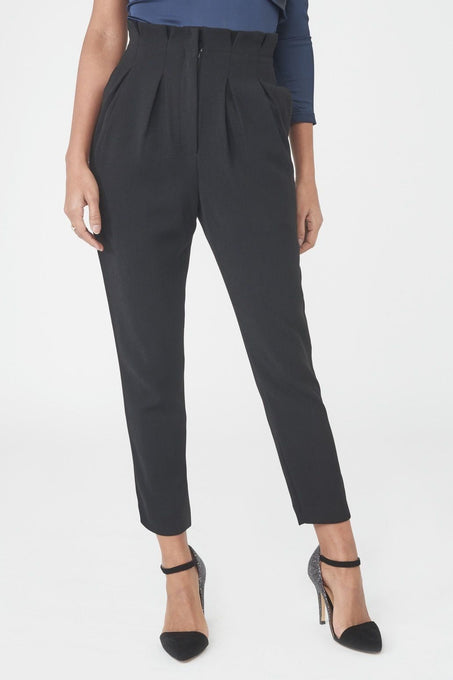 Gathered Waist Tapered Trouser in Black