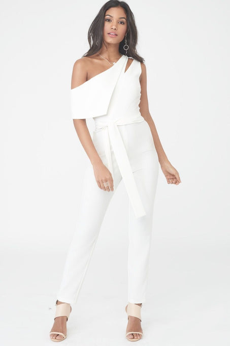 Asymmetric Jumpsuit with Tie Belt