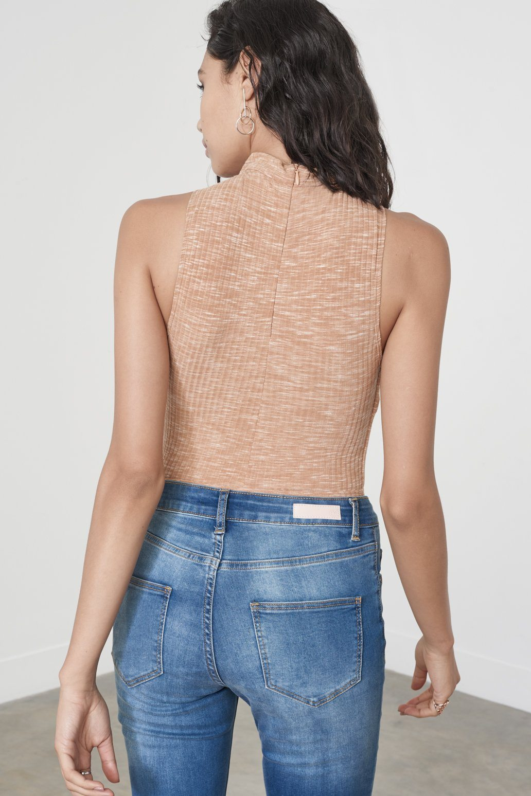 Camel Rib Knit High Neck Cut Out Detail Thong Bodysuit