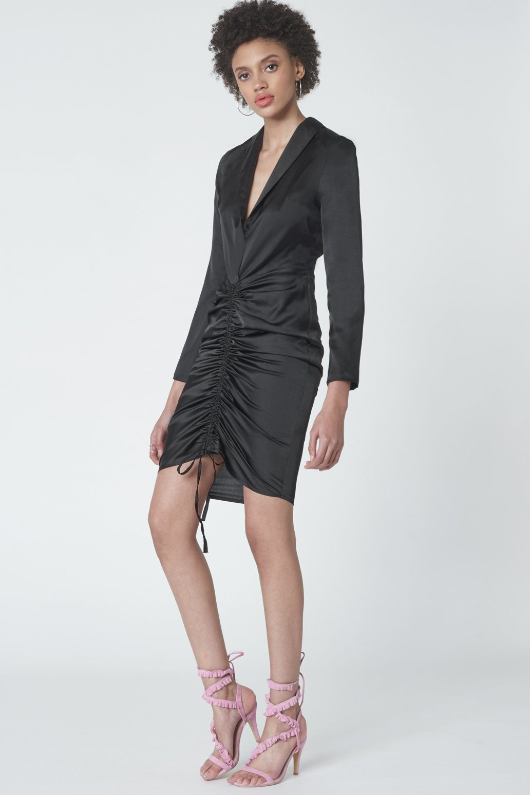 Plunge Front Drawcord Dress in Black Satin