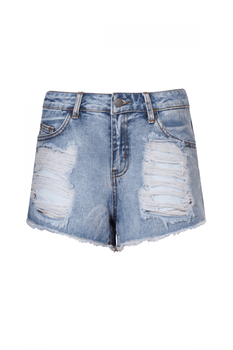 Light Denim Ripped Shorts