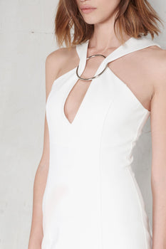 Off White Metal Ring Plunge Detail Midi Dress