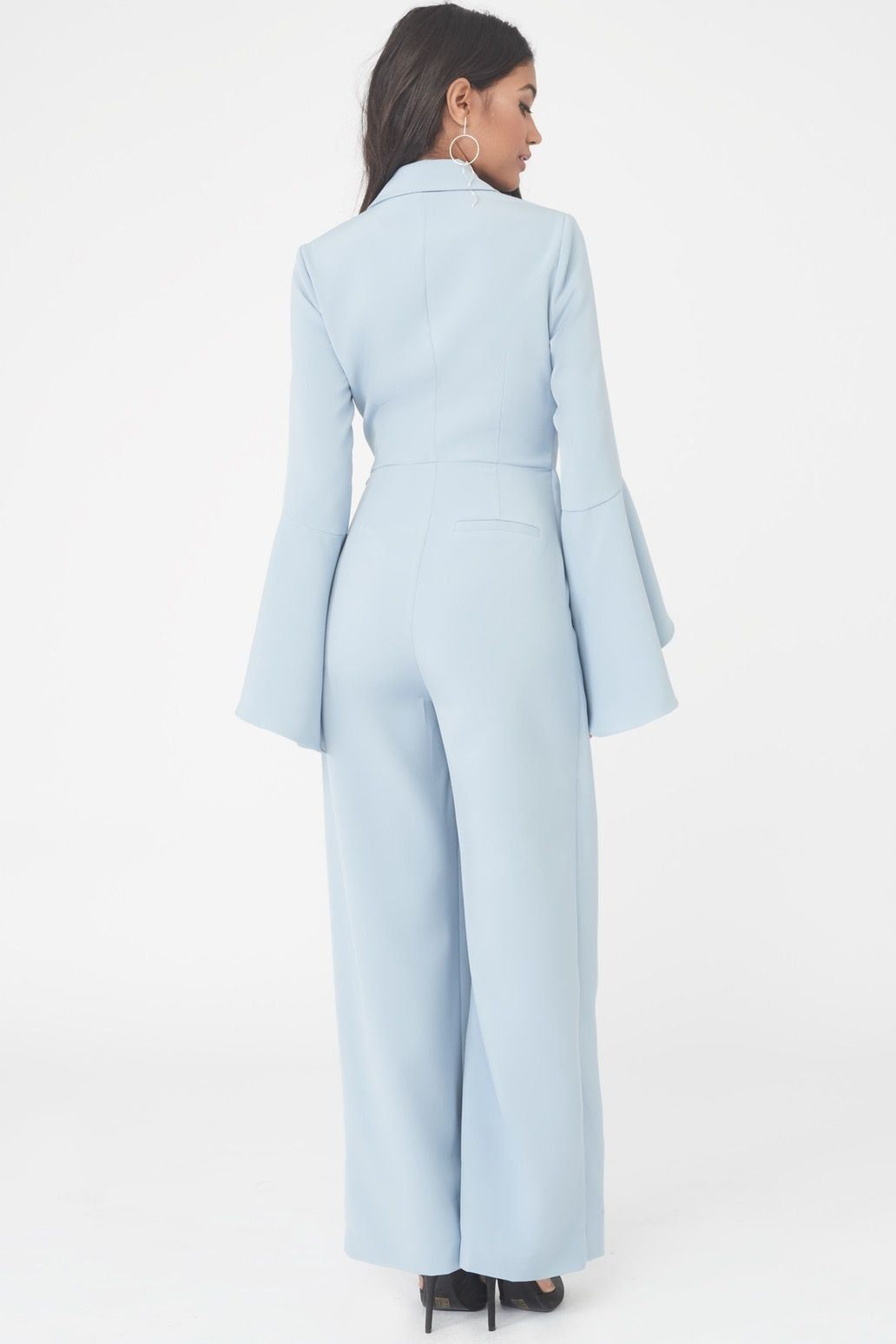 Bell Sleeve Wrap Over Wide Leg Tailored Jumpsuit