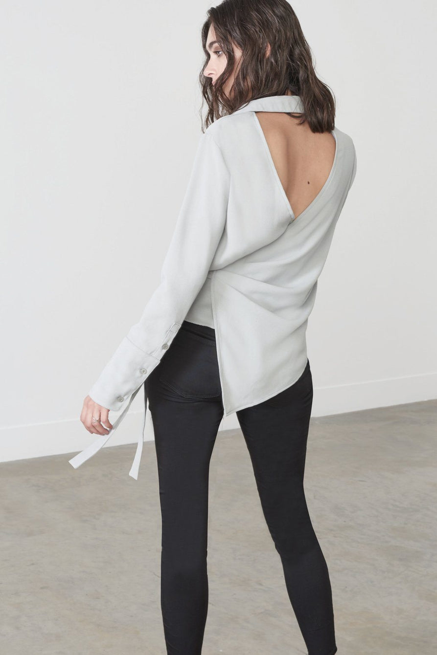 Asymmetric Wrap Shirt in Sage