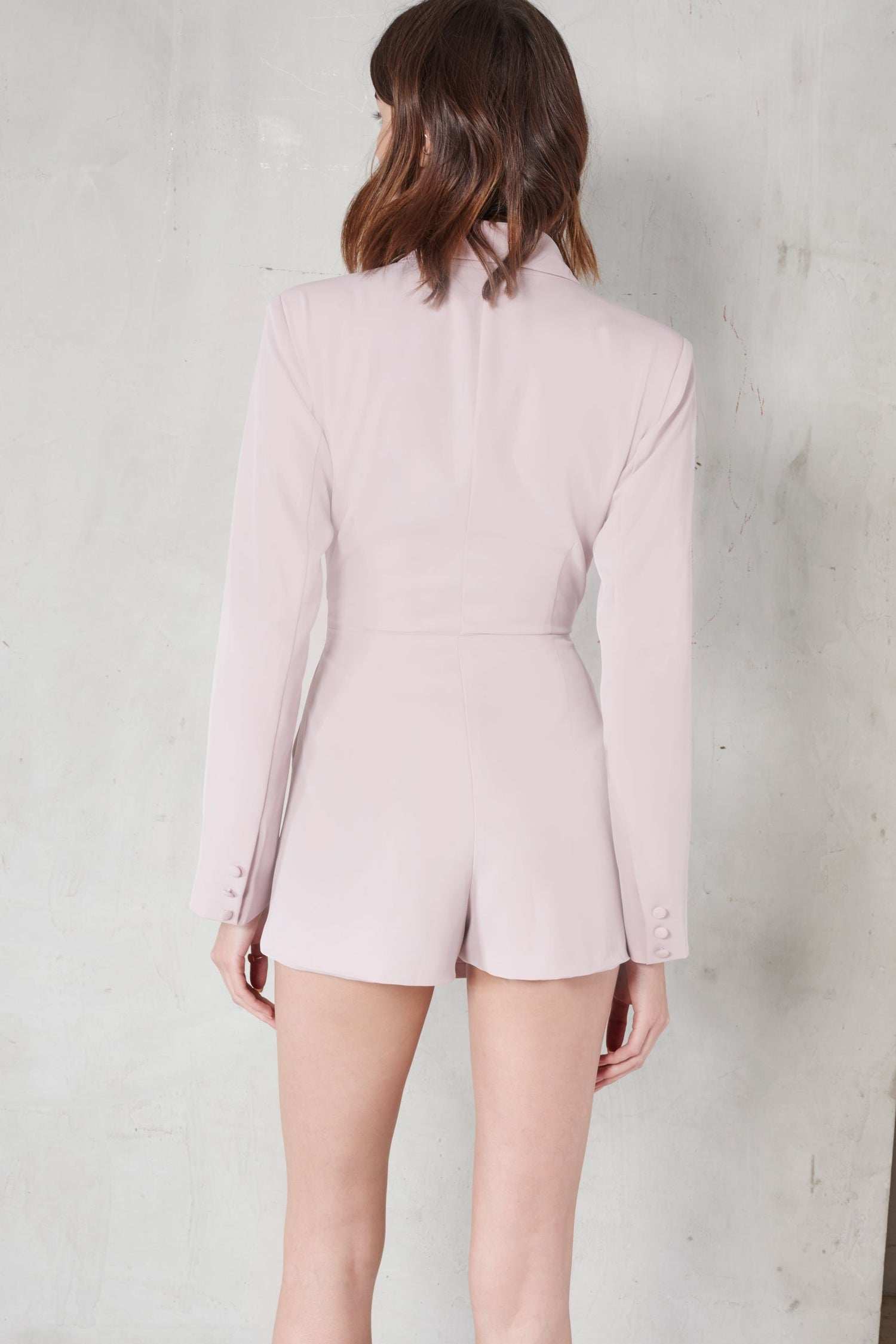 Mauve Metal Lapel Trim Blazer Style Playsuit