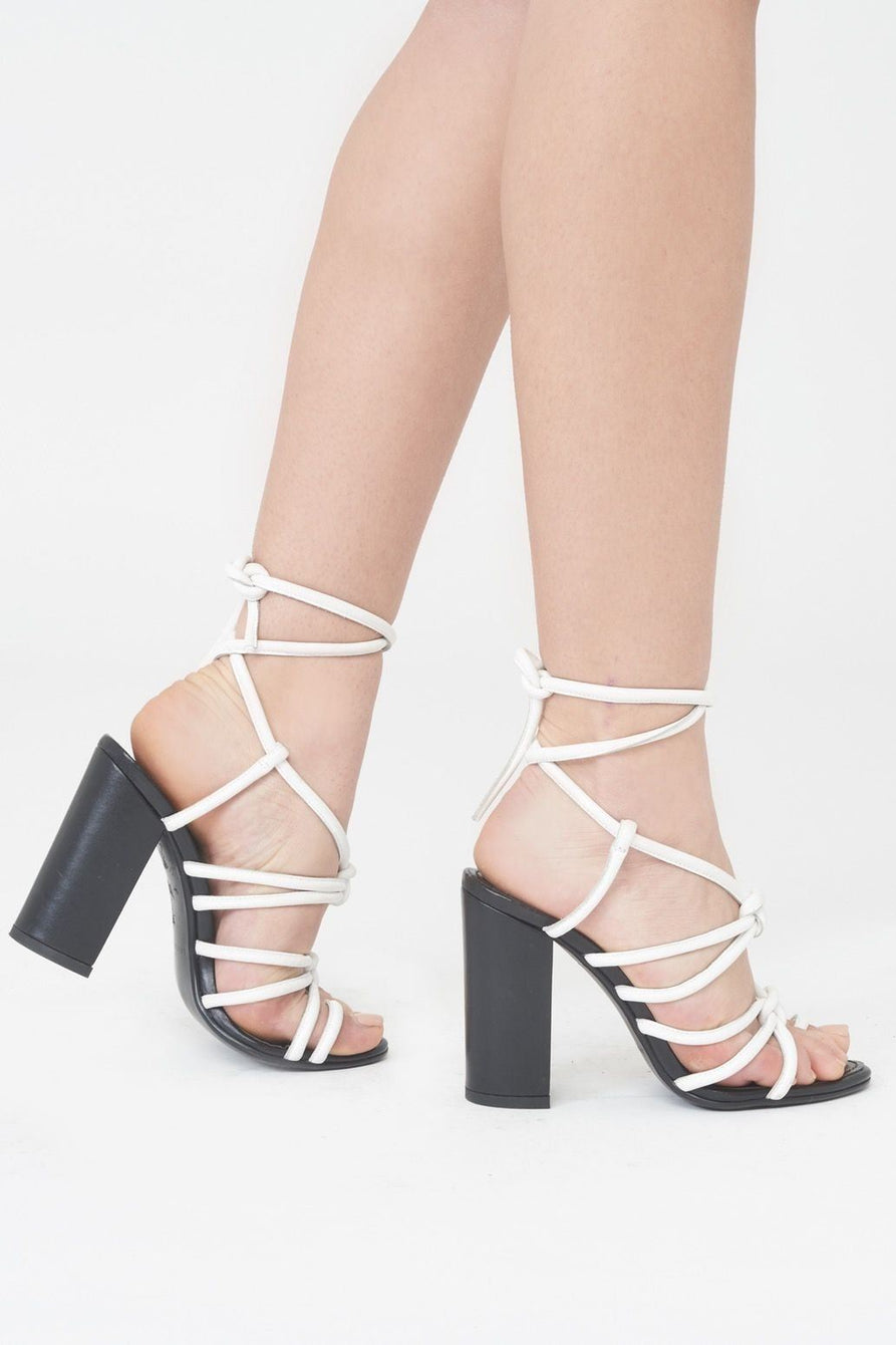 Strappy Knotted Heel Sandal with Toe Post