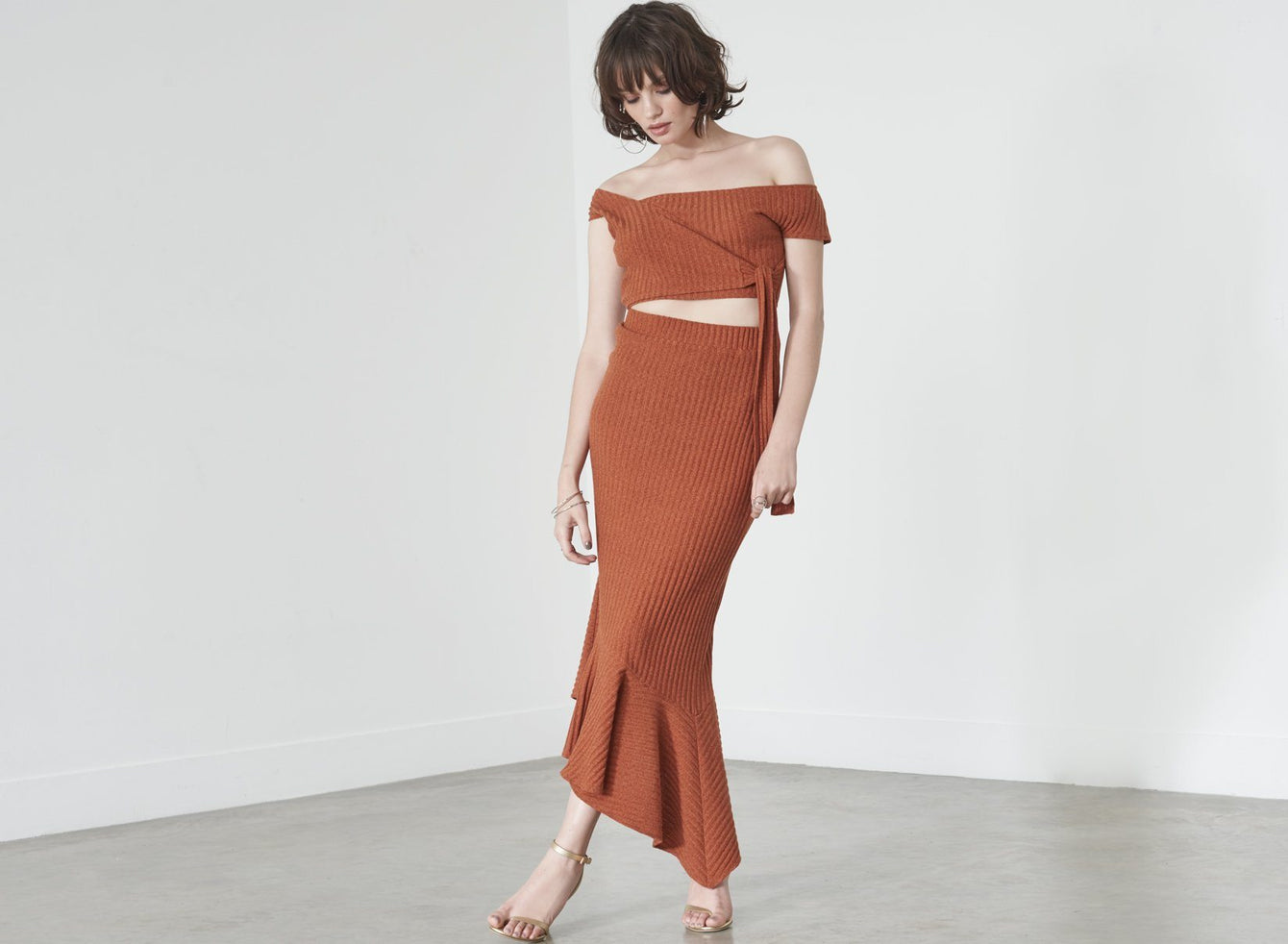 Waterfall Hem Midi Skirt in Rust Knit