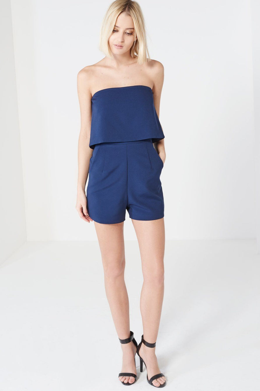 Navy Bandeau Cropped Playsuit