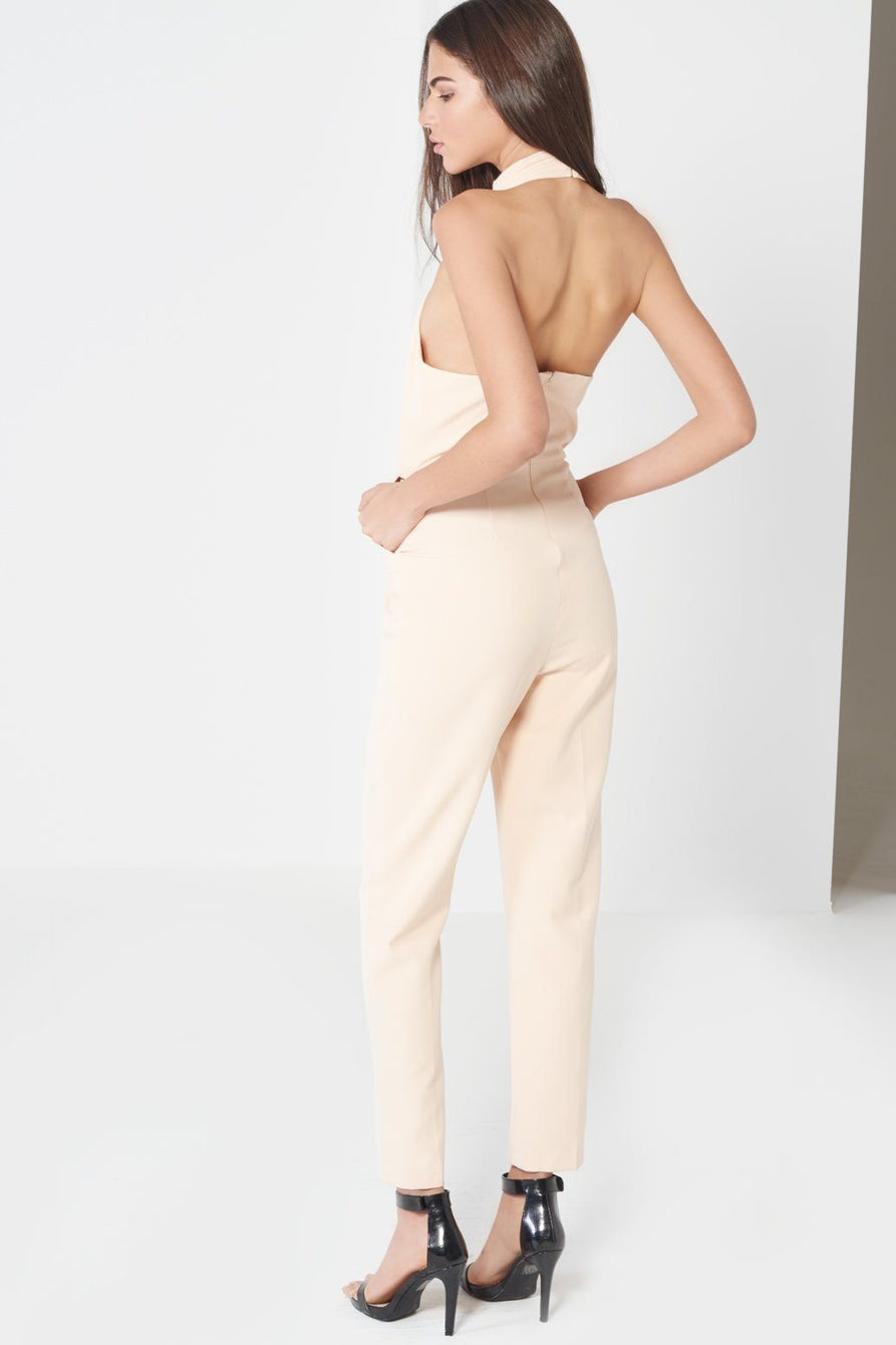Nude Keyhole High Neck Deep Plunge Jumpsuit