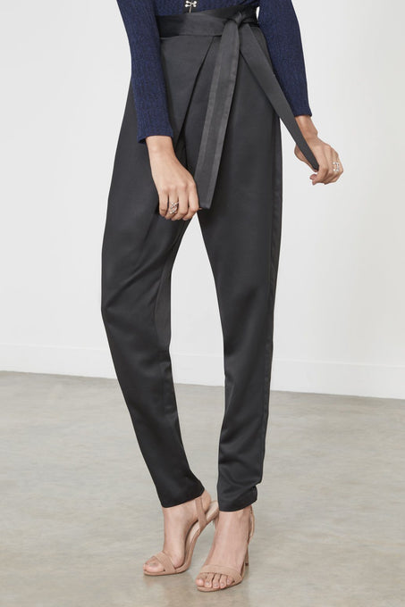 Black Satin Tie Wrap Front Trousers