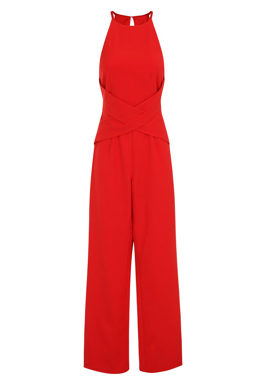 Red Wrap Front Plunge Back Detail Wide Leg Jumpsuit