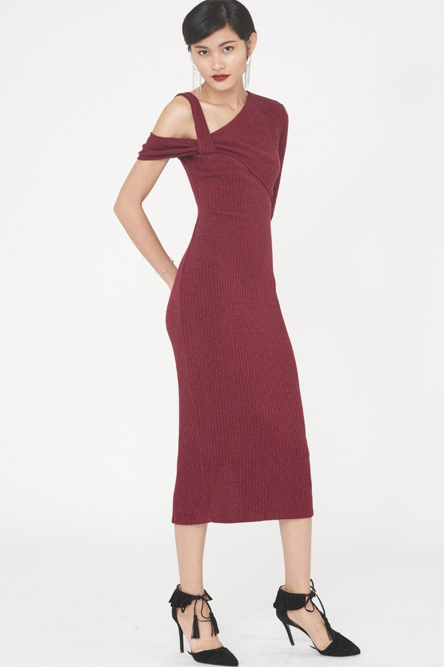Rib Knit Asymmetric Midi Dress in Berry